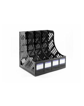 E31902-01 Лоток для бумаги вертикальный сборный на 4 отделения, черн