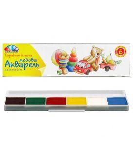 Акварель медова н/с,6 цв. б/кисти,картон (311032) Гамма-Н