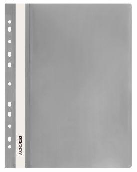 E31510-10 Папка-скоросшиватель с прозрачным верхом серый (глянец