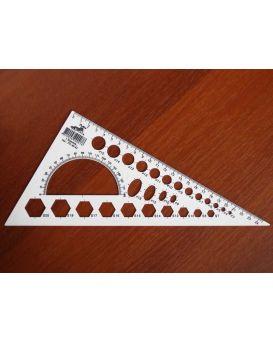 Треугольник 25см,белый с шелкографией транспортир и геом.фигуры