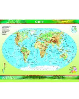 Двусторонняя карта.Политическая + Физическая мира 1:70 000 000 ламинированная Картография