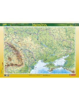 Украина. Физическая карта м-б 1:2 500 000 ламинированная. Картография