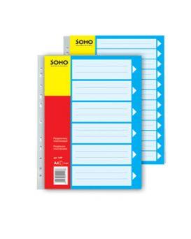 426012 Разделитель пластиковый А4,1-6Р,серый,цветной SOHO 1-6P
