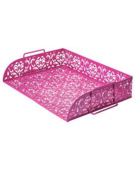 """Лоток горизонтальный """"Barocco"""" 320х250х7мм, металлический, розовый"""