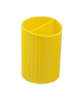 /Стакан для ручек круглый на два отделения, желтый