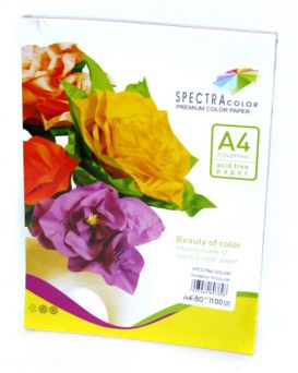 Бумага цветная А4 100 листов, 80 гр/м2, супер микс, 10х10, SPECTRA COLOR-Rainbow Pack, IT 85