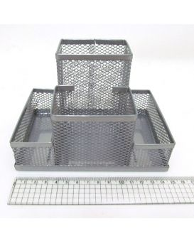 Органайзер настольный металлический 150х100х100 мм, серебряный, 4 отделения «Сетка»
