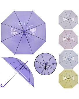 Зонт детский прозрачный длина трости 74 см, диаметр 92 см, в ассортименте