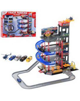 Гараж 4 этажа, транспорт металлический 5 шт., от 6 см, лифт механический, в коробке 60х41х9 см