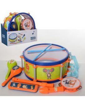 Набор музыкальных инструментов, барабан, маракас, бубон, гармошка, дудка, у кор. 28,5х25х13 см