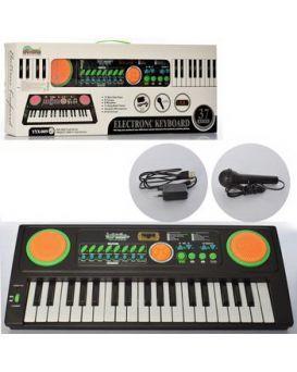 Синтезатор на бат. и от сети, 52 см, с микрофоном, 37 клавиш, 8 тонов, 8 ритмов, в кор.57х23х7см