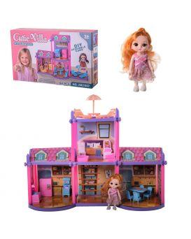 Домик 60х22х43 см, 2 этажа, 4 комнаты, мебель, куколка, в коробке 38х8х23 см