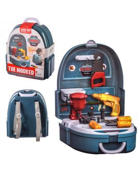 Набор инструментов пила, шуруповерт, викрутки, в рюкзаке 23,5х13,5х26 см