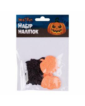 Набор наклеек «Fun Хэллоуин черный кот и тыквы» 12 шт., Ева, глиттер, ТМ Yes
