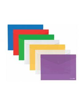 E31317 Папка-конверт А3 прозрачная на кнопке, ассорти