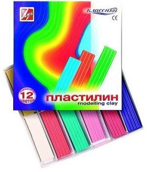 Пластилин 12 цветов «Классика» со стеком, 240 гр., в картонной коробке, ТМ Луч, 7С331-08