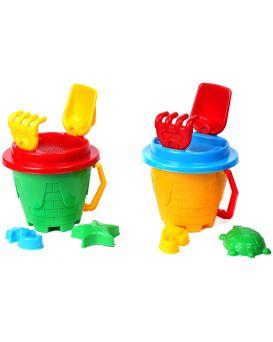 Набор для игры с песком «Замок» ведерко, лопатка, грабельки, 2 пасочки и сито, 18х17х27см, ТМ Технок