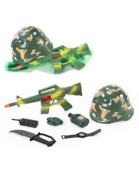 Военный набор каска, автомат, гранаты, нож, фляга, компас ,бинокль,сетка 54*20см
