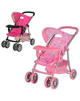 Коляска 9304BW-T летняя корзина стол д/бут.,розов.,ткань клубничка,в кор.55*34*55,5 см