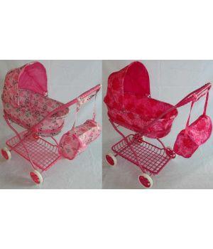 Коляска 9325-2 зимняя,с сеткой, с сумкой,роз.колл.,ткань розов. и гол,в пакете 42,5*35*67см