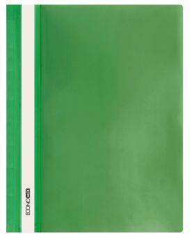 Папка - скоросшиватель с прозрачным верхом А4 без перфорации, зеленая.