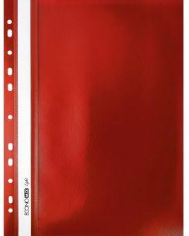 Папка - скоросшиватель с прозрачным верхом А4 с перфорацией, красная.
