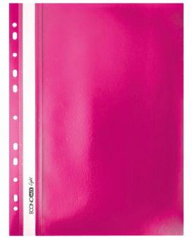 Папка - скоросшиватель с прозрачным верхом А4 с перфорацией, розовая