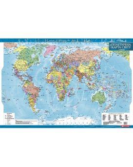 Политическая карта мира 1:35 000 000 ламинированная на украинском языке, ТМ Картография