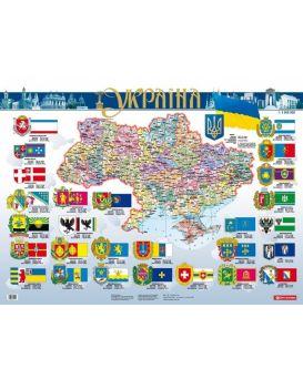 Политическая карта Украины 1:3 000 000 ламинированная на украинском языке, ТМ Картография