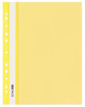 Папка - скоросшиватель с прозрачным верхом А4 с перфорацией, желтая.