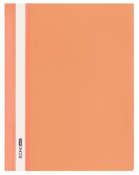 Папка - скоросшиватель с прозрачным верхом А4 без перфорации, оранжевая.