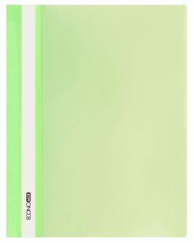 Папка - скоросшиватель с прозрачным верхом А4 без перфорации, салатовая.