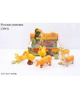 Животные «Домашние» резиновые, в ассортименте, 12 шт. в коробке 27х9х15 см
