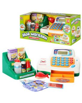 Кассовый аппарат «Мой магазин» на батарейке, звук, свет, продукты, корзинка, аксессуары, 40х17х17 см
