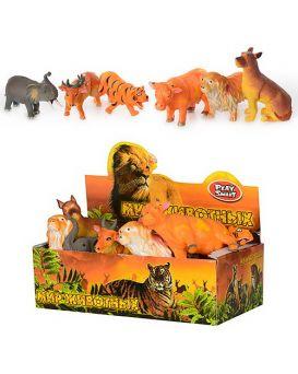 Животные «Дикие» резиновые, 12 шт. в дисплей боксе 28х15х9 см