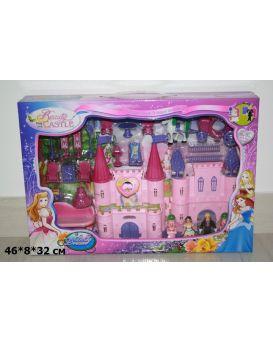 Замок на батарейке, музыка, свет, мебель, куклы, карета, в коробке 46х8х32 см