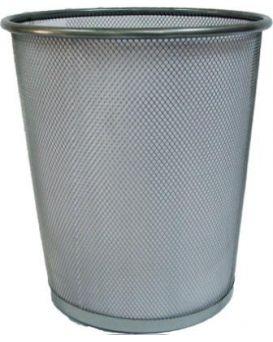 Корзина канц.,металлическая,большая серебристая круглая 015S (24*29,5*33,5 см) 5001-S