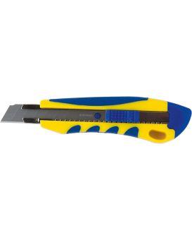 Нож универсальный 18 мм, мет. вставки, пласт. корпус из резин. вставками
