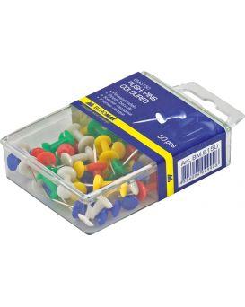 Кнопки - гвозди цветные 50 шт. в пластиковом контейнере, ТМ Buromax