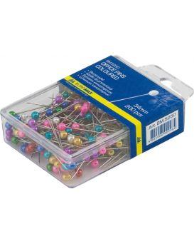 Булавки цветные, 34 мм, 200 шт., пласт. контейнер