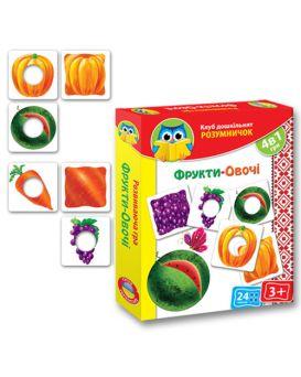 Игра картонная, розумничок «Фрукты - Овощи» укр.