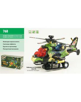 Вертолет на батарейке, свет, звук, в коробке 21х8х11см