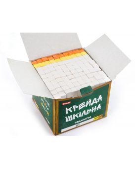 Мел квадратный «Школьный» белый + цветной, 12 х 12 мм, 100 штк.