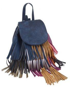Сумка - рюкзак синяя с бахромой, 25 х 21.5 х 21 см
