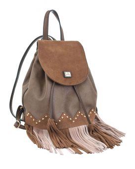 Сумка - рюкзак коричневая с бахромой, 25 х 21.5 х 21 см