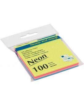 Блок бумаги для заметок 76 х 76 мм, 100 л., неон 4 цв. х 25 л.