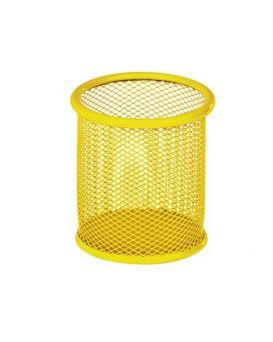 Подставка для ручек круглая 90 х 90 х 100 мм, металлическая, желтая.