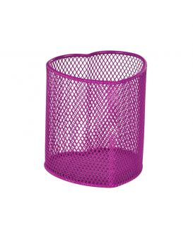 Подставка для ручек «Сердце» 90 х 90 х 100 мм, металлическая, розовая.