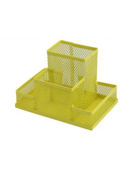 Органайзер настольный металлический 150х100х100 мм, желтый.