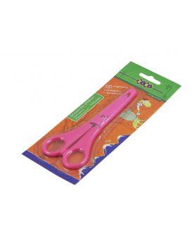 Ножницы детские 13,5 см, с линейкой в чехле, розовые.